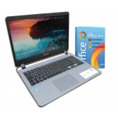 ASUS in silber F507M  Notebook 15 Zoll HD+ Quad Core 4 x 2,7GHz 4GB 256GB SSD / 1TB Hdd DVD Win10 Office 2018